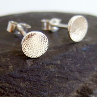 Silver stud earrings, small textured studs 7 mm simplistic range