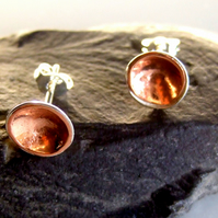 Silver sunglow inverted domed stud earrings