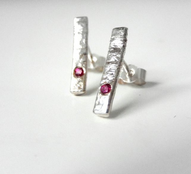 studs, silver stud earrings, silver ruby stud earrings, silver earrings