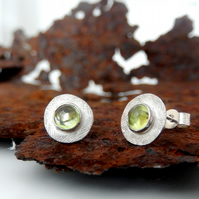 Studs, silver stud earrings, peridot textured stud earrings, silver earrings