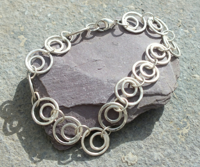 Sterling silver textured circle bracelet