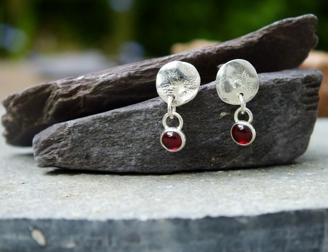 Silver earrings, garnet earrings