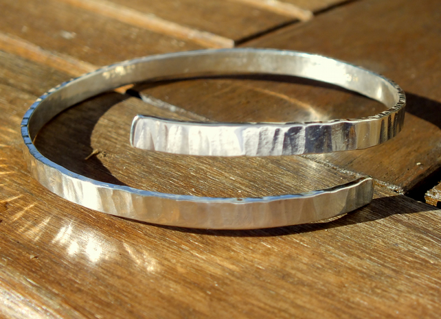 Silver bangle, bangle, bark texture handmade silver bangle