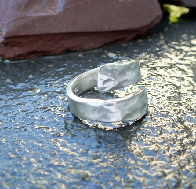 Silver ring, ring, silver hammered open ring