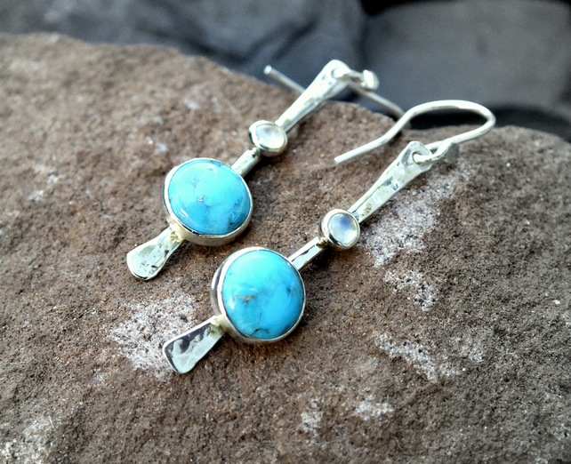 Silver earrings, silver dangle earrings, silver turquoise earrings