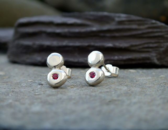 Studs, Silver stud earrings, pebble stud earrings, silver ruby earrings