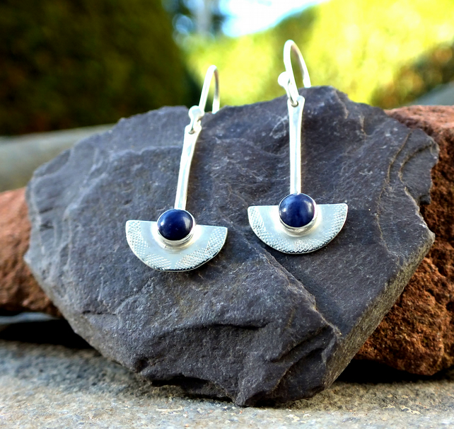 silver dangle earrings, sodalite silver textured dangle earrings