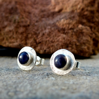 silver stud earrings, sodalite silver textured stud earrings