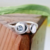 Silver ring, silver pebble blue topaz ring