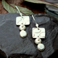 Silver dangle earrings, pebble earrings