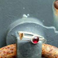 Silver ring, garnet skinny ring with heart