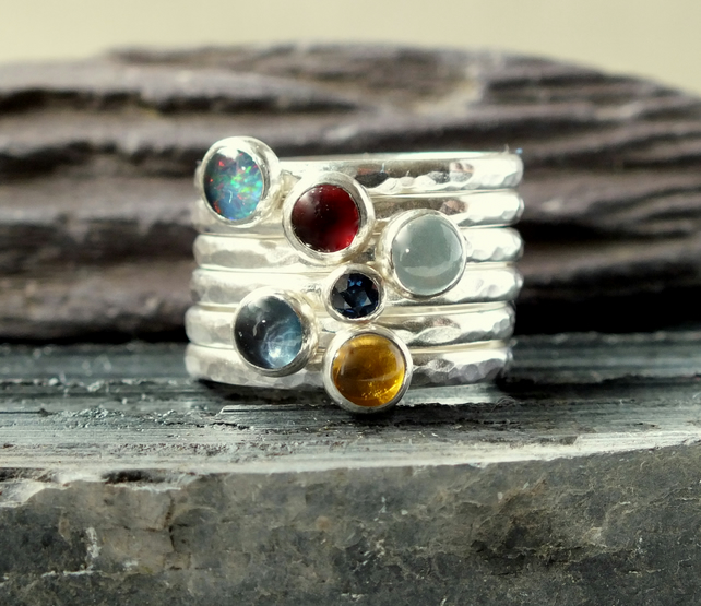 Silver ring, silver rings, Six ring stacker, stacking rings
