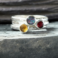 Silver ring, silver stacking rings, Trinity Cabochon stacker