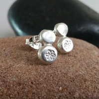 Studs, Silver stud earrings, pebble flower design