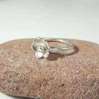 Silver ring, silver flower ring