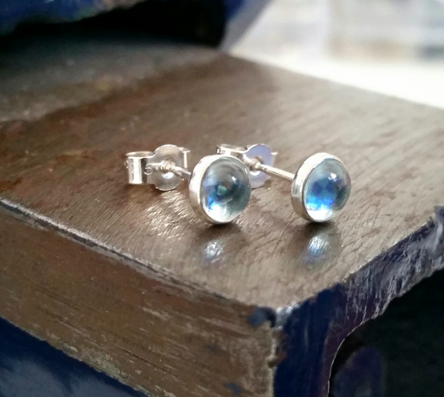 Studs, silver stud earrings, silver light blue topaz earrings
