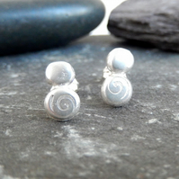Studs, Silver stud earrings, pebble stud earrings, spiral design