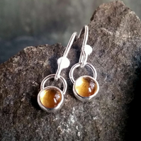 Silver earrings, silver Citrine drop earrings