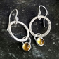 Silver hoop earrings, silver citrine earrings