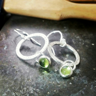Silver hoop earrings, silver peridot earrings