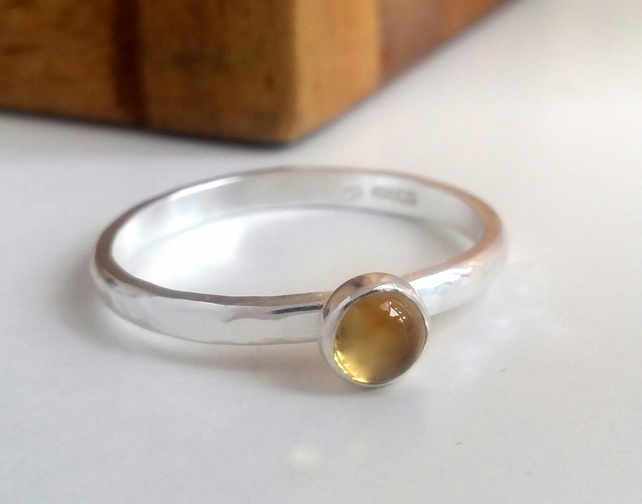 Citrine ring, sterling silver ring