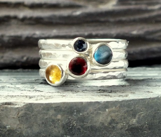 Silver ring, silver stacking rings, four ring stacker