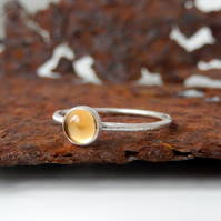 Silver ring, Citrine Skinny scratch ring