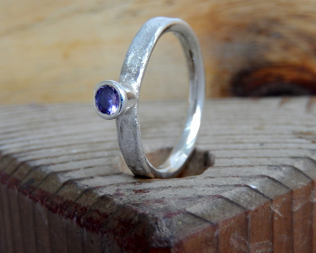 Amethyst textured ring