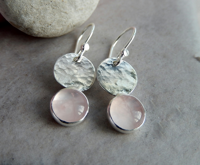 silver earrings, silver dangle pink quartz earrings