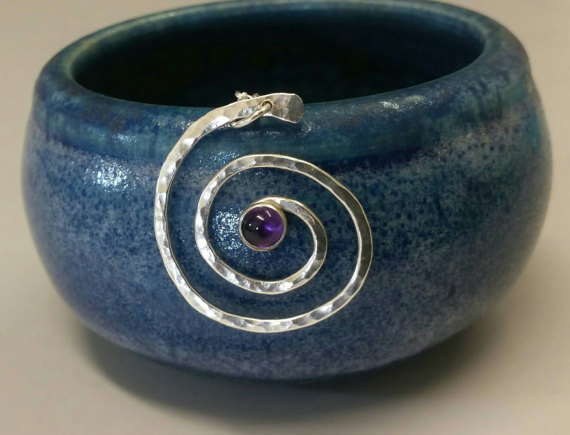 Spiral Pendant with amethyst gem & hammered textured - sterling silver