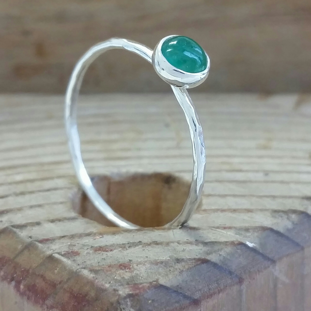 Silver ring, Emerald Skinny ring