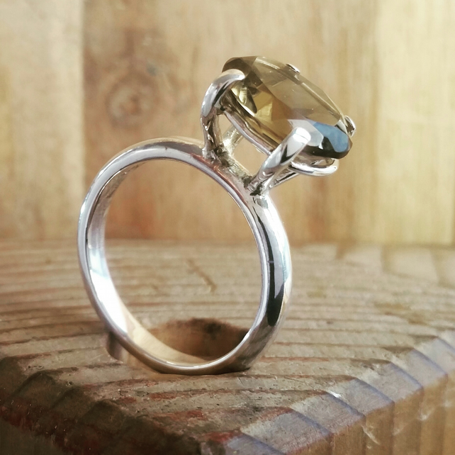 Smokey Quartz stone set ring