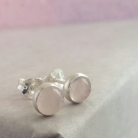 silver stud earrings, Pink Quartz 5 mm studs Sterling Silver