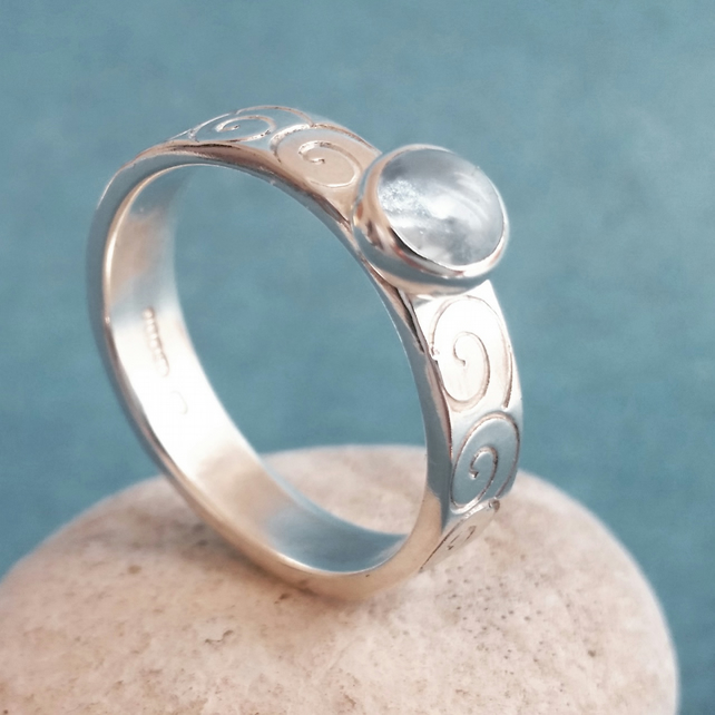 Silver ring, silver topaz ring