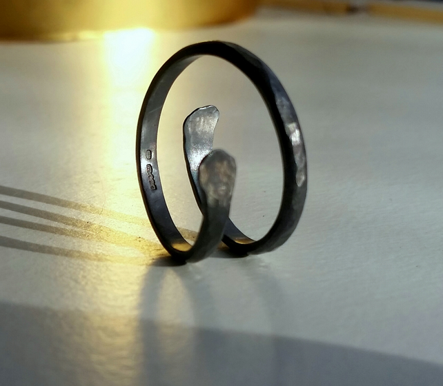 Oxidised Silver ring, ring , silver spiral ring, simplistic range