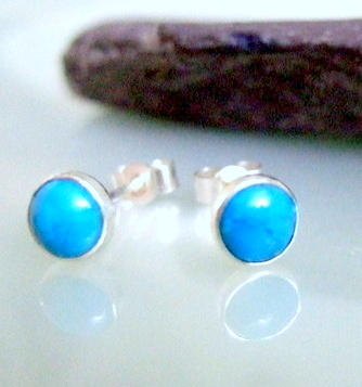 Silver, Studs, silver stud earrings, Turquoise silver stud earrings