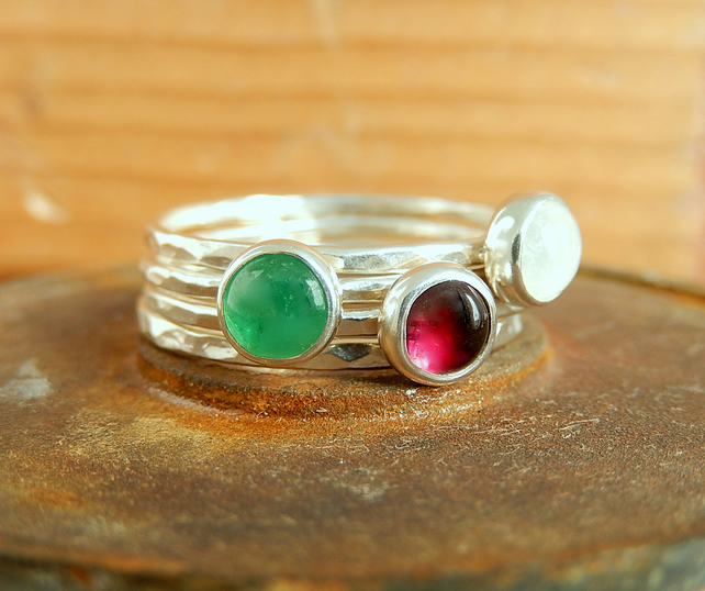 Silver ring, silver stacking rings,  Stacking cabochons