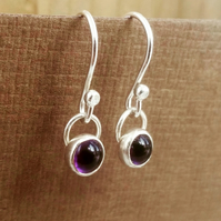 Silver earrings, silver amethyst drop earrings