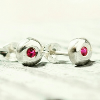 Recycled sterling silver ruby stud earrings,pebble stud earrings