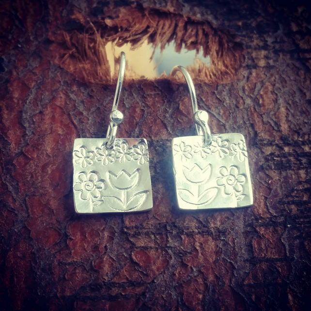 Square drop earrings, garden scene earrings