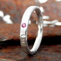 Silver ring, recycled sterling silver ruby ring