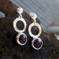 Amethyst sterling silver stud drop earrings