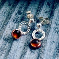 Citrine sterling silver stud drop earrings