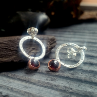 Silver earrings, silver garnet earrings