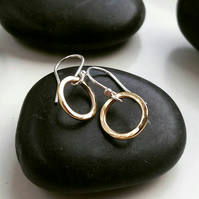 Hoop drop earrings, silver drop earrings, gold hoop earrings