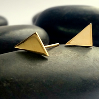Stud earrings, triangle stud earrings, arc gold jewellery