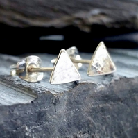 Stud earrings Tiny triangle studs sterling silver