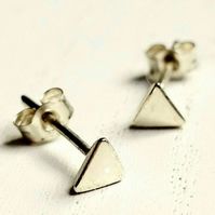 Triangle stud earrings, gold studs
