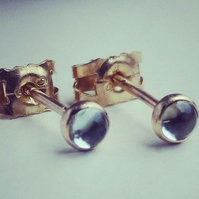 Gold stud earrings,topaz 3 mm studs 9ct gold