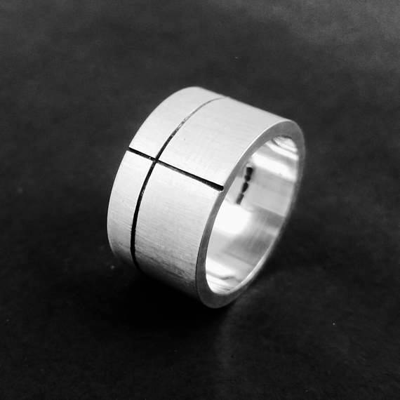Minimalist black line ring